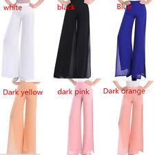 Ladies High waist side split wide leg chiffon pants women palazzo baggy pants