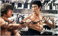 Bruce Lee + Chuck Norris - 017 - Cast Signed Glossy REPRINT - Signed by both men