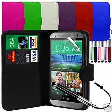 PU Leather Wallet Flip Case Cover & LCD Film & Stylus Pen For HTC One Mini 2