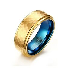 8mm Hot Tungsten Carbide 18K Gold Plated Band Men's Blue Polished Ring Size 7-11