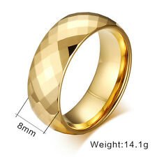 8mm Diamond-shaped Cut Tungsten Wedding Band Mens 18K Gold Plated Ring Size 7-13