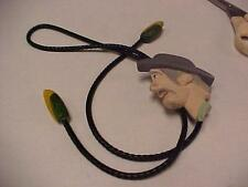 Bolo Tie-Vintage-Man's Head Handcrafted Slide-Painted Wood-1990 Signed = 14139C