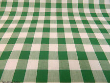 """1"""" inch GREEN GINGHAM CHECK POLYCOTTON FABRIC"""