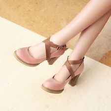 Womens Leather High Block Heels Platforms Strappy Round Toe Pumps Shoes Nice!!