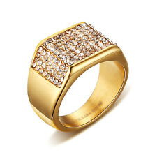 11MM Gold Plated 316L Stainless Steel Men's Wedding Engagement CZ Ring Size 7-12