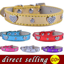 Dog Collar Crystal Studded Leather Rhinestone Collars Adjustable Pet Neck Strap