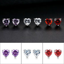 Fashion Jewelry White Gold Filled Sincere Heart Crystal Stud Earrings jewelry