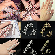 Fashion Punk Rock Gothic Gold Silver Double Full Finger Knuckle Armor Ring