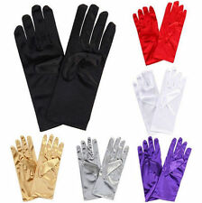 Ladies Short Wrist Gloves Smooth Satin For  Dress Prom Evening Wedding-UK