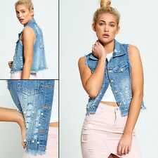 WOMENS LADIES RIPPED DISTRESSED FRAYED HEM DENIM WAISTCOAT CROPPED JEANS JACKET