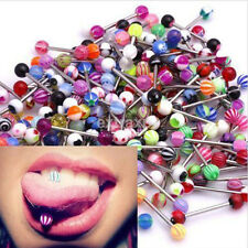 30/60Pcs Tongue Bars Surgical Steel Barbell Rings Ball Body Piercing Jewellery