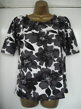 NEW - NEXT - size 10 classic cream with GREY floral print TOP  BNWoT