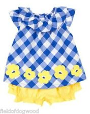 NWT Gymboree Blue collection Blue Plaid swing top Bloomer SET Baby Toddler