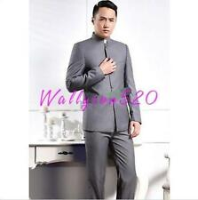 Mens Slim Fit Single-breasted Business Stand Collar Dress Coat Pants Suits new
