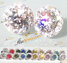 Multicolor Sparkly Simulated Lab Diamond 100% 925 Silver Removable Stud Earrings
