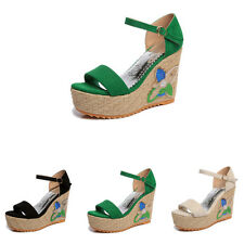 Womens Ladies Studded Wedges High Heel Sandals Summer Platforms Shoe Size 3-8