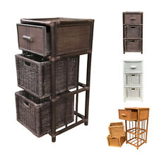 Rattan Nightstand Chest Basket Storage Unit model Dennis with Drawer 3Colors …