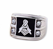 Silver Stainless Steel 316 Crystal Masonic Blue Lodge Freemason Ring Band - 7-13