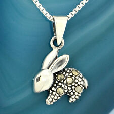 Bunny Pendant Sterling Silver Marcasite Baby Rabbit Charm Necklace On Box Chain
