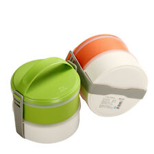 2 Tier Japanese Bento Lunch Box Round with Handle for Food Container Picnic