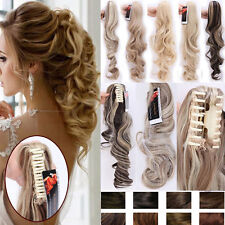 "18""-26"" Long Thick Jaw Claw on Clip in Ponytail Hair Extensions Brown Blonde T54"