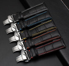 Leather Band Straps for Rolex Omega Breitling watch with Deployment Clasp