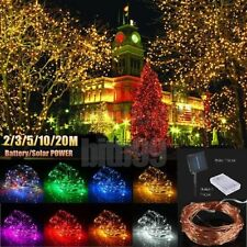20M LED Battery/Solar Fairy String Light Outdoor Wedding Christmas Party Lamp AY