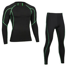 Mens gym fitness Compression shirt Thermal Underwear set Quick Dry long johns