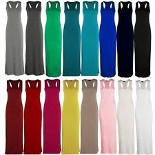 Women Ladies Plain Racer Back Muscle Long Maxi Sleeveless Dress  Plus Size 8-26