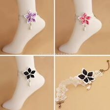 Adjustable White Pearl Drop Flower Chain Lace Anklet Foot Bracelet Sandal Beach