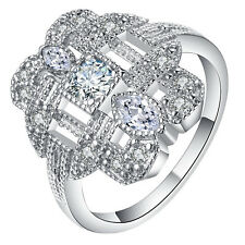 18kt White Gold Filled White Sapphire CZ Wedding Engagement PARTY Ring Size 7-10