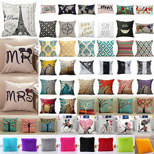 Home Decorative Vintage Cotton Linen Pillow Case Sofa Waist Throw Cushion Cover