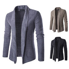 Autumn Men's Casual Slim Shawl Collar Long Cardigan Knitted Sweater Thick Coat