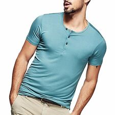 Nice!! Mens Smooth Casual Henley T-shirt Viscose Soft Solid Basic Tee 5 Colors