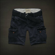 New Hollister By Abercrombie Mens Faria Beach Belted Cargo Shorts Navy Siz 30,31