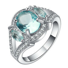 18kt white Gold filled light blue gemstone CZ Wedding Engagement Ring Size 7-10