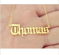 Personalized Gold Name Necklace Pendant Old English style Jewelry Nameplate
