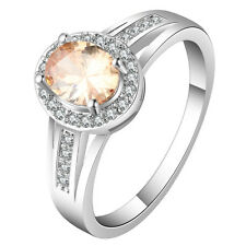 18kt white Gold filled champagne luxury topaz CZ Wedding Engagement Ring 4 size