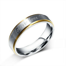 """Gold Plated Couple Rings """"forever love"""" Stainless Steel Wedding Bands Ring gift"""