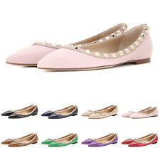 Fashion Women Flats Rivets Pointed Toe Slip-on Flat Shoes Studded Ballet Loafers