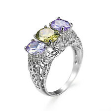 Olive Green+Purple Amethyst Hollow Band Womens 925 Silver Wedding Ring Size 6-10