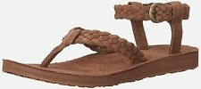 TEVA women SANDALS Original Suede BRAIDED Ankle Strap Sandal BISON Brown size 10