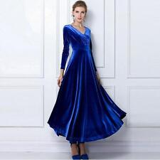 Chic Fashion Women Gorgeous V Neck velvet Party Evening Long Sleeve dress Gown