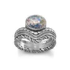 Ancient Roman Glass Ring with Bead and Rope Band Sterling Silver