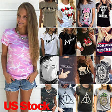 Womens Summer Short Sleeve Casual Print T-shirt Letter Graphic Tee Tops Blouse