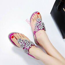 Womens Rhinestone Flat Casual Flip Flops Summer thong Sandal Shoes Slingbacks Sz