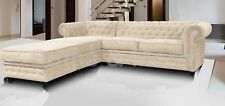 Chesterfield Corner Sofa Fabric 3+2 Seater Armchair- Cream Fast Delivery