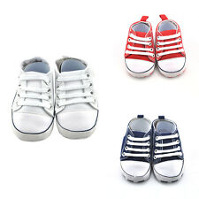 Newborn Toddler Boy Girl Soft Sole Antiskid Crib Shoes Canvas Sneakers 0-18 M