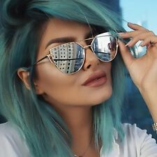 Cat Eye Women Sunglasses Mirror Design Vintage Cateye Fashion Popular New Gold