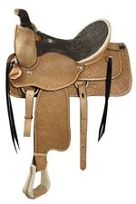 """Circle S 16"""" ROPING Saddle FQHB Basket Weave Tooled  *WARRANTIED for Roping*"""
